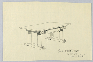 Drawing, Design for Large Table with Florettes on Legs, 1900–05
