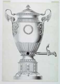 The spout shown in right profile. The spout terminates in a bird's head, and a fish forms the valve handle. The body of the urn is decorated with leaf clusters and the handles are formed by swans springing from acanthus rinceaux. The stand is composed of acanthus leaf panels alternating with overlapping fan-shaped motifs.
