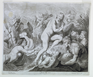 Venus, seated on a shall (?) is offered pearls and shells by surrounding sea nymphs. At the left appears Triton and another nymph.