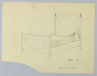 """Drawing, Design for Bed  """"B"""" with Two Posts and Finials on Headboard"""