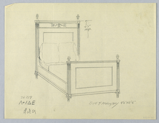 Drawing, Design for Mahogany Bed with Vase and Garland Carving and Toupie Feet