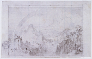 Recto: Horizonal view showing a dramatic panorama of towering peaks flanking a river gorge, with a church ( or castle) perched atop a cliff at the left and a cluster of palm trees at the right, bridged by a prominent double rainbow.  Verso: Elevations and plans for a Mansard-roofed house are shown in boxes and sometimes numbered: shown vertically at bottom is the house standing at a declivity and composed of two wings; shown horizontally in the opposite direction is the front portion of the house with a different distribution of windows; shown at various locations are several designs referring to the shape of the roof and a house plan; and shown at bottom right are two fillets supported by scroll motifs.