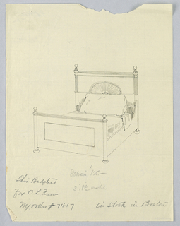 Drawing, Design for Bed with Carved Shell Motif on Headboard