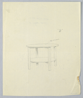 Drawing, Design for Large Oak Hall Table, 1900–05