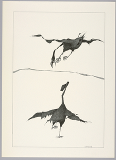 Plate 22, II of the book, Très Admirable Bestiaire Fantastique (Very Admirable Fantastic Bestiary). Two grotesque figures of geese in surrealist style. At bottom, goose with outstretched wings standing on one foot, with an elongated head that ends in an oversized key. Above, a goose in flight, its elongated neck pointed down and its beak open wide, a large keyhole visible at its rear. Landscape indicated by a curving shaded line in the background. Composition contained within a black rectangular frame.