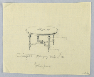 Drawing, Design for Louis XVI Mahogany Table for City House