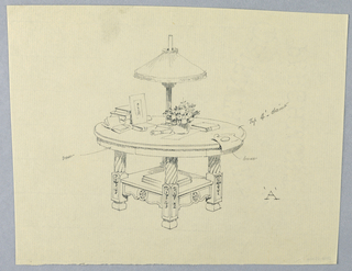 """Drawing, Design for Round Table """"A"""" with Square Shelf and Single Drawer"""