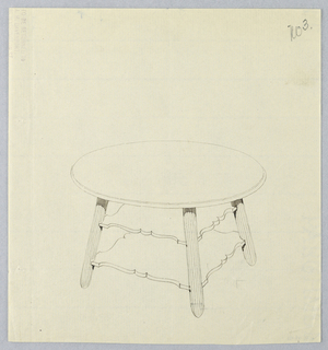 Drawing, Design for Round Table with Stylized Square Shelves, 1900–05