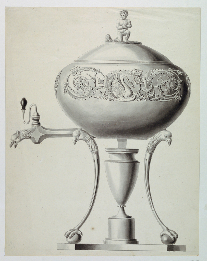 Urn in profile with the spout facing left. The spout terminates in a parrot's head. The urn's oval body is adorned with a leaf arabesque and swan in the center. A kneeling nude child as the finial. The stand supports are in the form of parrots' heads with claw feet resting on balls. The spriit lamp is contained within an urn.