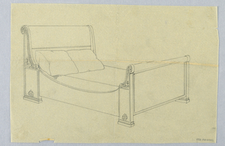 Drawing, Design for Bed with Square Feet and Carved Rosettes