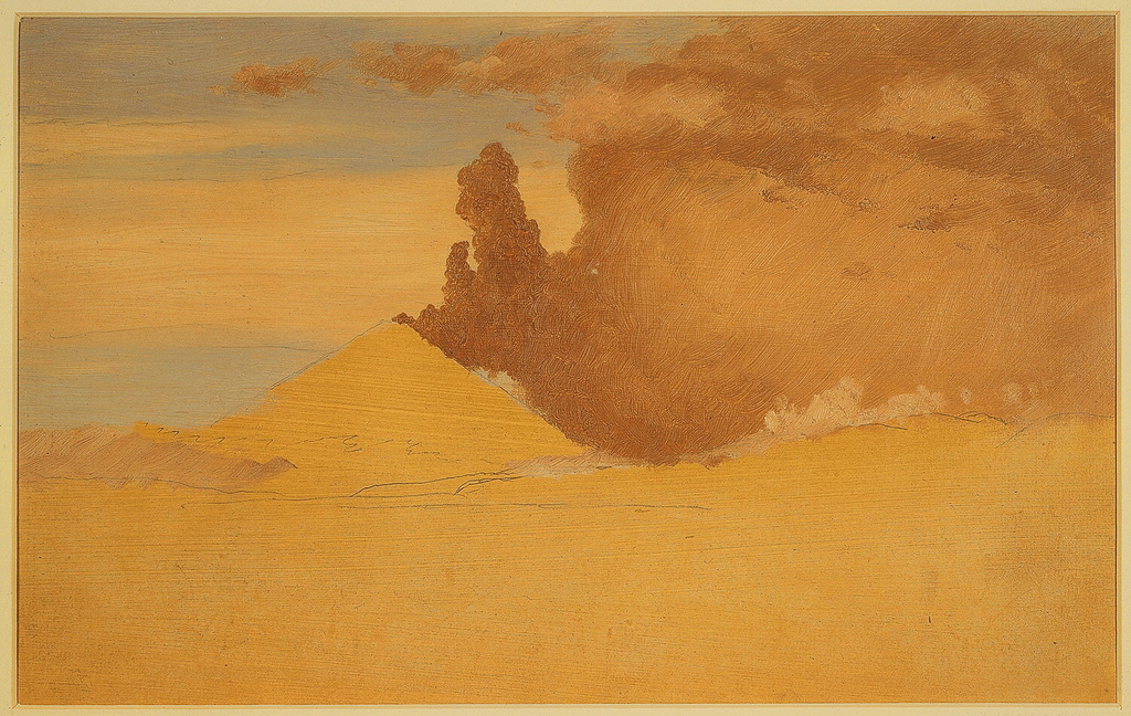 The cone from which heavy smoke pours rises in the left middle plane.  A ridge stretches from left toward right, in the foreground.  Some clouds are shown above the ridge.  Blue sky with clouds.  Broad bottom margin showing the creamy ground in color. Unfinished study.