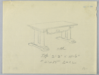 Drawing, Design for Large Table with Columnar Supports and Pediment Base