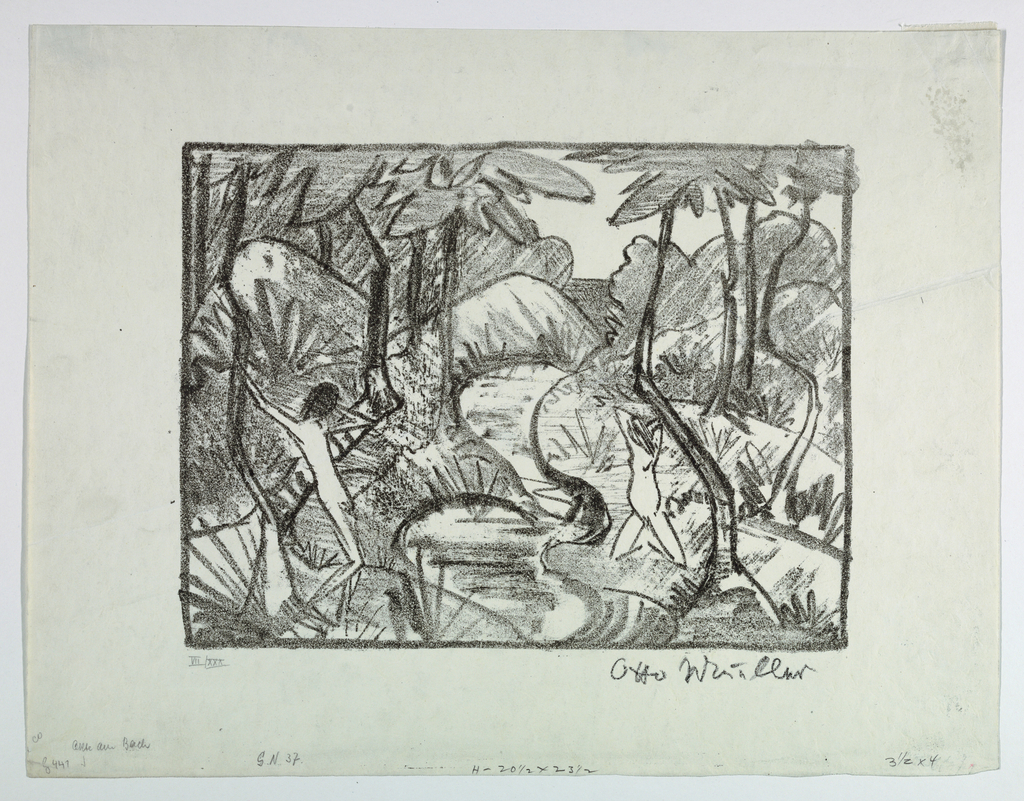 Forest scene. Center, stream running through composition. Left, one nude figure stands. Right, kneeling nude figure.