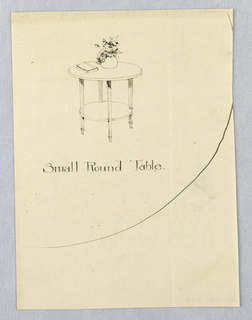 Drawing, Design for Small Round Table with Round Shelf and Tapering Fluted Legs, 1900–05