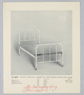 Catalogue Illustration, Design for Enamel Bedstead #2055, with Woven or Wire Springs