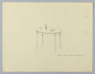 Drawing, Design for Small Oval Mahogany Table with Lamp and Open Book Atop, 1900–05