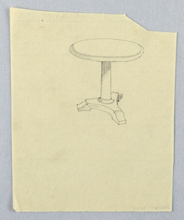 Drawing, Design for Round Table with Three Scrolling Legs