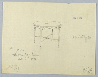 Drawing, Design for Small Round Mahogany and Inlay Table