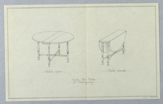 Drawing, Design for Oval Mahogany Tea Table