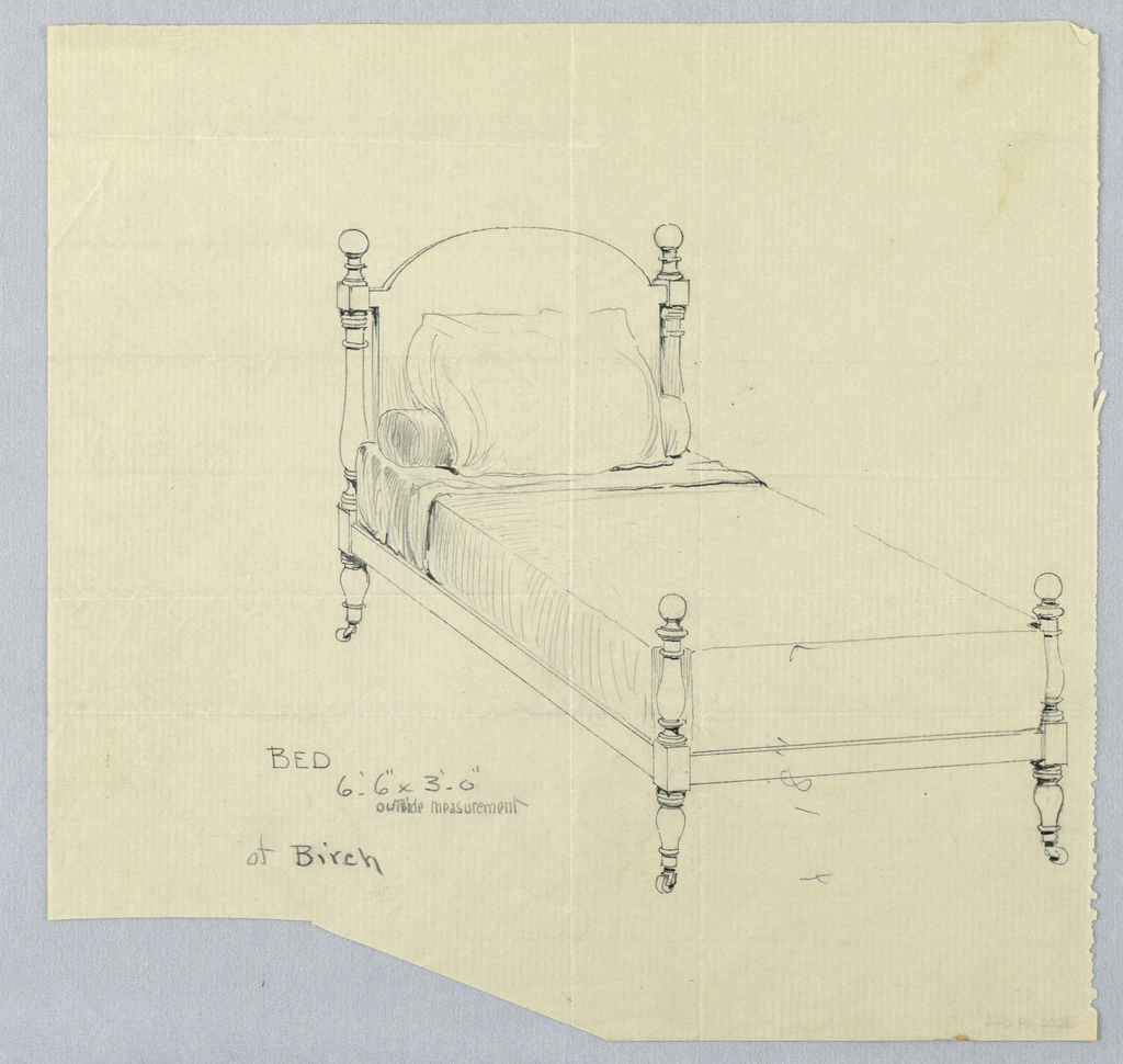 Drawing, Design for Birch Twin  Bed with Turned Legs