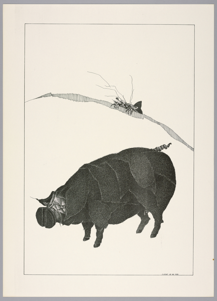 Plate 25, IX of the book Très Admirable Bestiaire Fantastique (Very Admirable Fantastic Bestiary). A large black pig, viewed in profile facing the left, its face without eyes and its snout formed by an oversized head of a nail. Landscape indicated by a curving shaded line in the background. The face and hands of a grotesque human figure visible over the horizon line at right. Composition contained within a black rectangular frame.