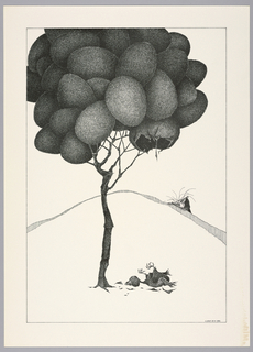 Plate 20, VII of the book, Très Admirable Bestiaire Fantastique (Very Admirable Fantastic Bestiary). A tall tree with thin trunk, its leaves composed of large eggs. Egg at lower right of tree broken; on the ground at the foot of the tree lies a dead baby bird and fragments of egg shell. Landscape indicated by a curving shaded line in the background. The face and hands of a grotesque human figure peers over the horizon line at right. Composition contained within a black rectangular frame.