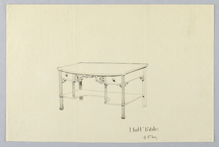 Drawing, Design for Hall Table with Two Drawers and a Shelf, 1900–05