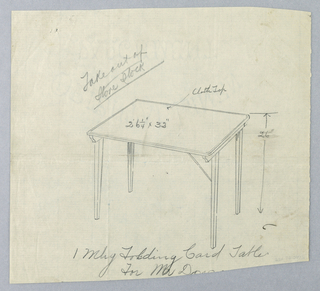 Drawing, Design for Mahogany Folding Card Table