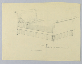 """Drawing, Design for Bed """"D"""" of Mahogany with Volutes and on Casters"""