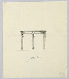 Drawing, Design in Side View for Round Table with Carved Border