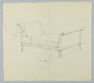"Drawing, Design for Bed ""A"" with Inlaid Decorative Lines"