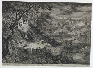 Landscape with trees. Left, Christ praying, angel above him. In mid-center two disciples asleep. Right distance, figures and houses.