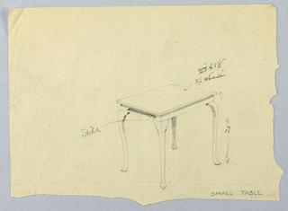 Drawing, Design for Small Rectangular Table with Sliding Block