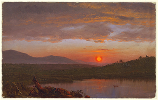 An inlet from the Hudson River contains row boat in right foreground with the Hudson Valley behind.  The Catskills Mountains can be seen in the left distance.  The sun in sets in the center tinging dark clouds above with orange.