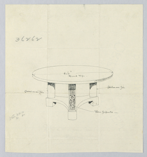"Drawing, Design for Large Round Table""B"" with Round Shelf, 1900–05"
