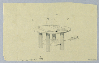 Drawing, Design for Round Table with Large Open Book Atop and Fluted Legs