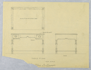 Drawing, Design for Small Oak Table in Plan, Elevation, and  Side Views