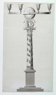 """A column surrounded by a grapevine stands on a high pedestal and is topped by two swans supporting a starred sphere. Fasted to it is a ring intended to carry six sockets of which four are shown. Bottom right corner: """"N 55;"""" in reddish ink"""