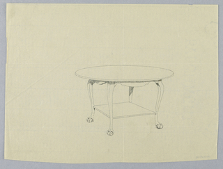 Drawing, Design for Oval Table with Square Shelf and Ball-and-Claw Feet