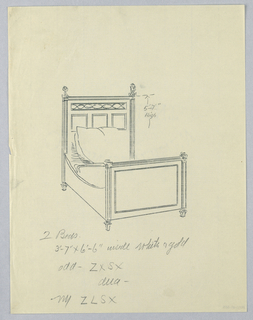 Drawing, Design for Twin Bed with Open Woodwork on Headboard