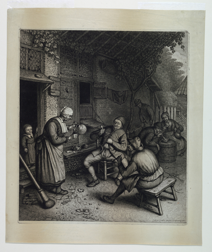 An outdoor scene in front of a tavern at left. Under a vine-trellis before the tavern are two seated peasants at right. Left, a standing woman pouring wine into a glass. Behind her stands a child in the open doorway.