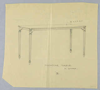 """Drawing, Design for Gumwood Magazine Table """"B"""""""