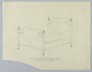 Drawing, Design for Single Bed of Mahogany with Rounded Posts, Finials, and Casters