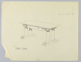 Drawing, Design for Large Hall Table with Drawer