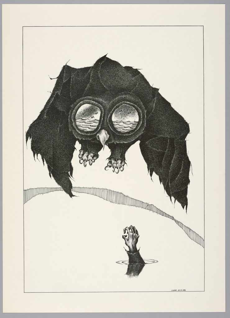 Plate 26, V of the book, Très Admirable Bestiaire Fantastique (Very Admirable Fantastic Bestiary). At upper center, a large owl in flight viewed frontally, with large mammal-like talons. The owl's eyes are two large circles that show a body of water below with bats or birds flying above. Below the owl, a human hand reaches up from underneath a body of water, creating ripples and shadow on the water's surface. Landscape indicated by a curving shaded line in the background. Composition contained within a black rectangular frame.