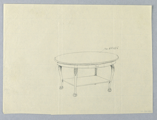 Drawing, Design for Oval Table with Rectangular Shelf and Ball-and-Claw Feet