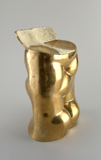 Contoured cylindrical polished metal form reminiscent of an abstracted nude torso; the seat with short back support, covered with fur-like white and brown sheepskin panels.