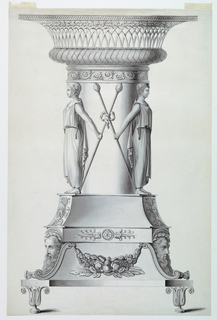 A pedestal of complicated design showing a fruit festoon, with bearded masks and plant motifs, is supported by lotus blossoms. A big and short column is surrounded by girls holding a thyrsus in either hand. The capital is shaped like a basket.