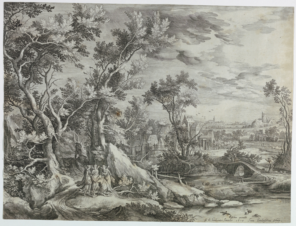Landscape with threes and a roat at right. Kneeling Abraham and three angels on it. Left mid-distance several houses; a church and ruins of a castle at horizon.