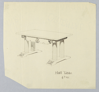 Drawing, Design for Oval Table, with Tablecloth